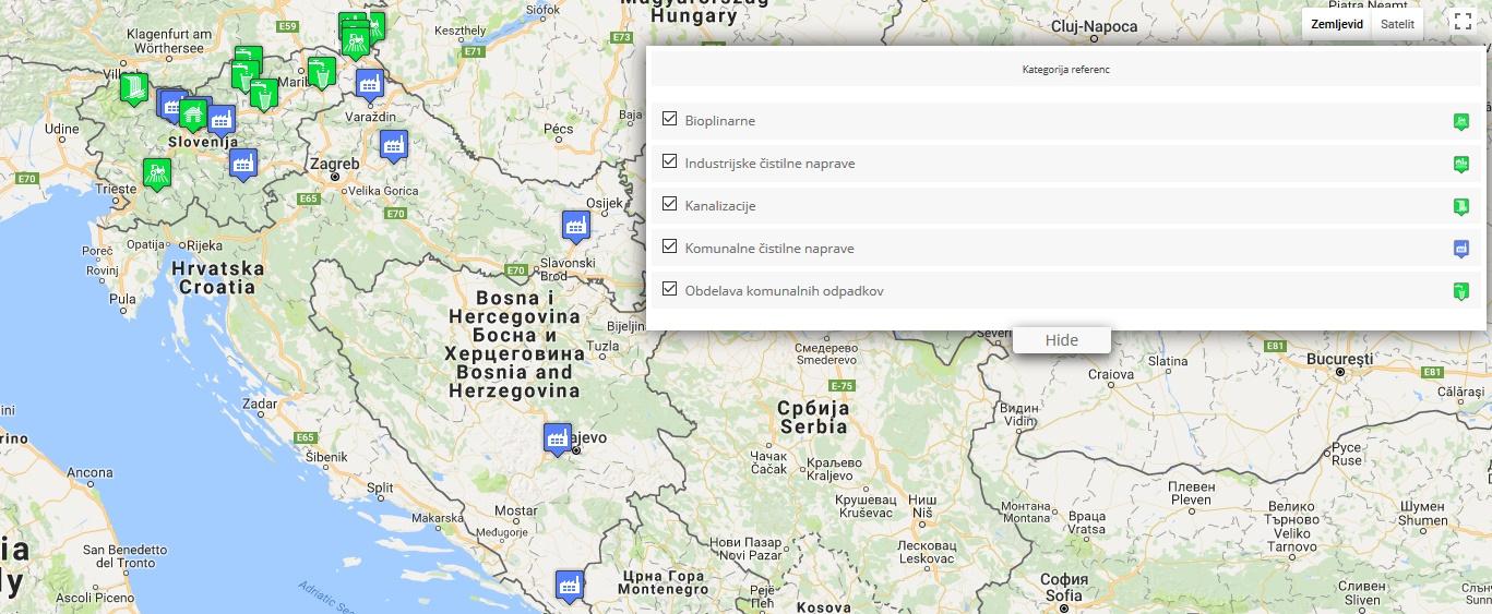 Pregled referenc na zemljevidu